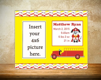 Personalized Children's Firetruck Frame