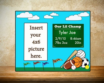 Personalized Baby Frame/Birth Frame - Sports Theme