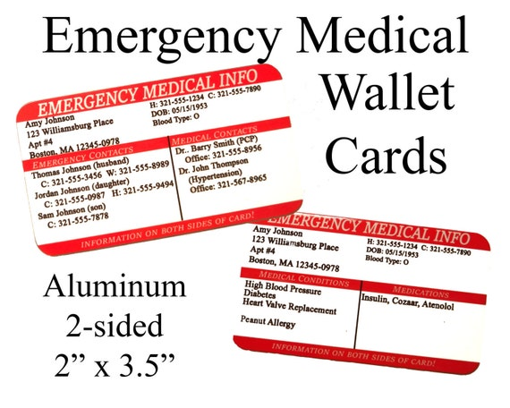 Emergency Medical Information Wallet Cards Ice Info 911 Etsy
