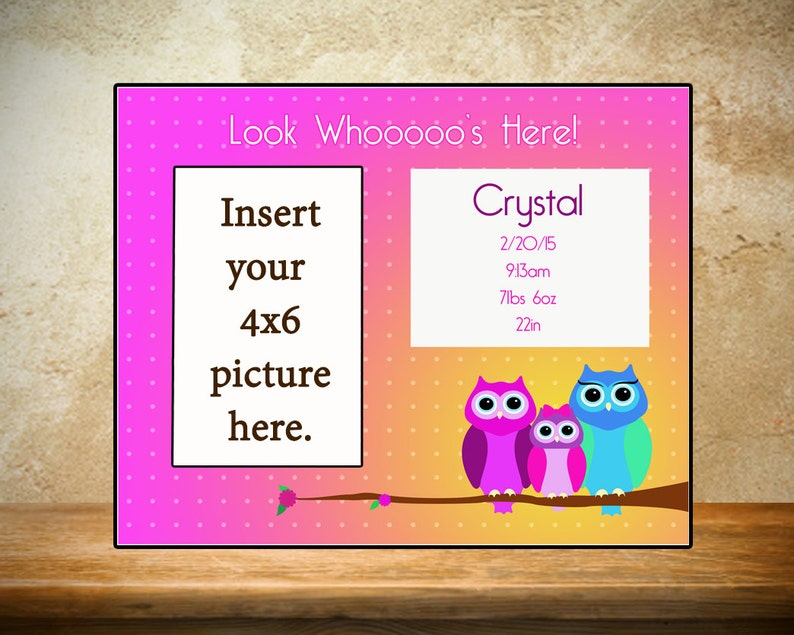 Personalized Baby Frame/Birth Frame  Look Whoos here image 0