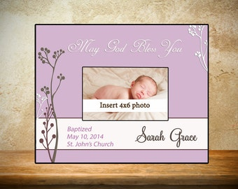 Personalized Baptism/Christening Frame - Purple with Flowers Theme