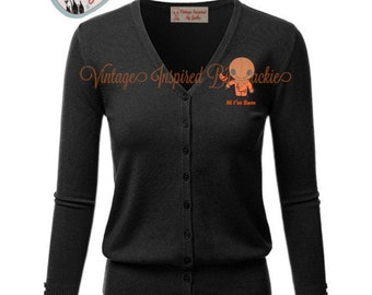 Custom Trick R Treat themed embroidered Cardigan pre-order