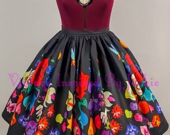 Flower, Border Print Full Skirt