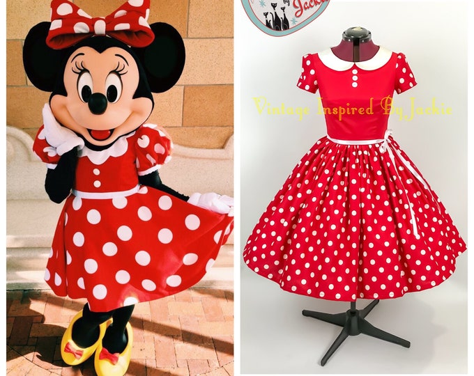 Minnie Mouse Inspired Peter Pan Collar Dress