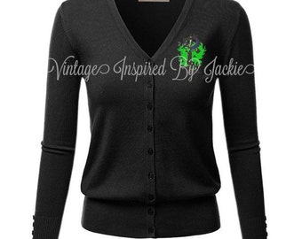 Custom Maleficent themed embroidered Cardigan pre-order