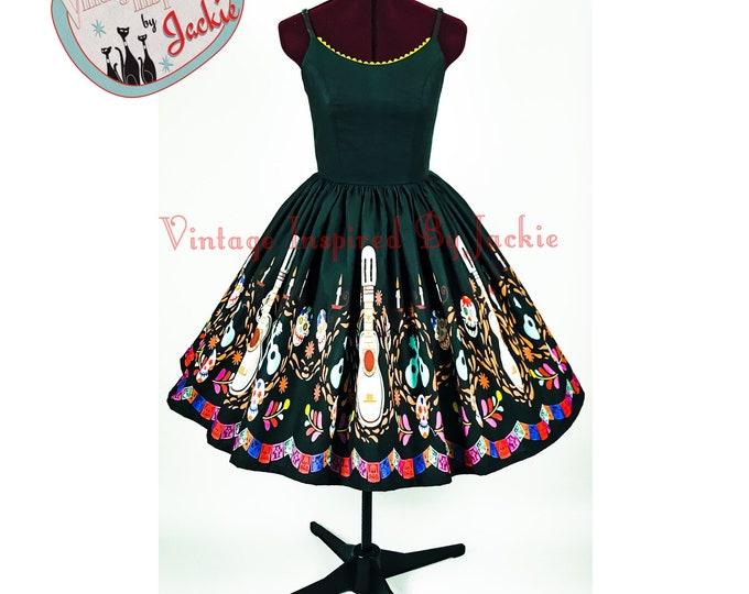 Guitar Border Print Bound Swing Dress