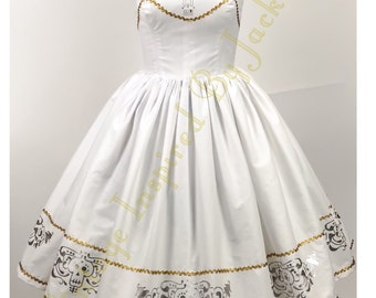 Silver Guitar Strapless  Bound Inspired dress