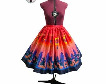 Pre-Order Cacti Border Print Full Skirt