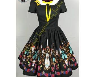 Guitar Print Peter Pan Collar Dress