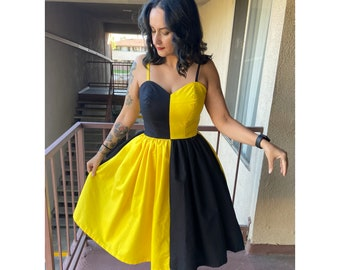 Strapless House Yellow and Black Bound dress