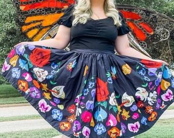 Flower, Border Print Full Skirt