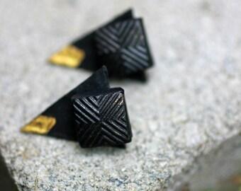 Front Back Earrings, Double Sided Earrings, Black Ear Jackets