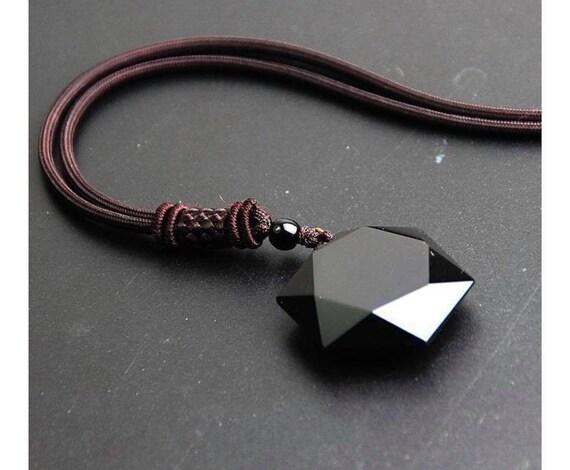 36ba0f174c4c3 Natural Obsidian Hexagram Pendant Necklace