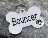 Dog bone tag, Engraved pet tag, tag for dog collar, pet id tag, personalized dog id tag
