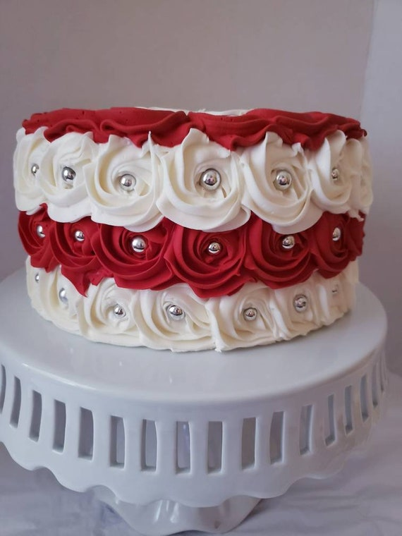 Magnificent Fake Rosette Cake Red And White Fake Cake Christmas Fake Cake Funny Birthday Cards Online Alyptdamsfinfo
