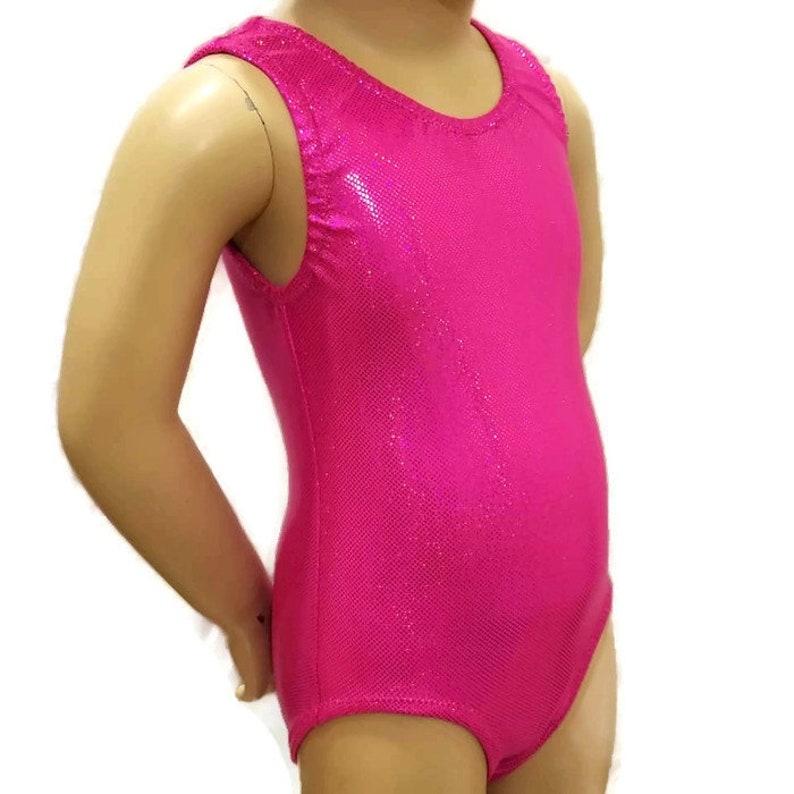Girls Size 6 Child Medium Leotard Girls Hot Pink Sparkle Gymnastics Leotard Size 6 Girls Gymnastics Leotard