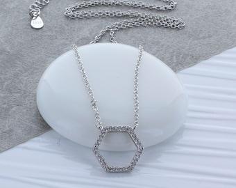 Silver Zircon Hexagon Necklace