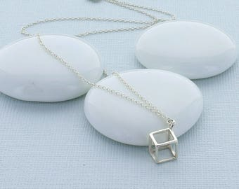 Small 3D Cube Necklace