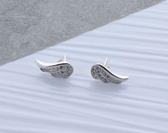 Zirconia Angel Wing Earrings