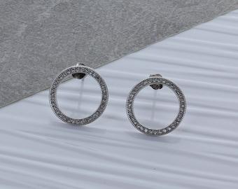 Silver Zircon Hoop Earrings