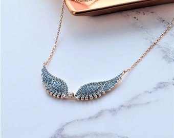Rose Gold Angel Wing Necklace