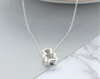 Silver Teddy Bear Necklace