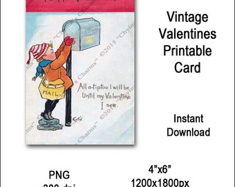 Vintage Cupid Valentines Card Victorian Printable Cupid Floral Etsy