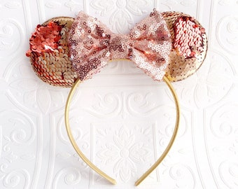Newborn-Teen The Rose Gold Sequin Minnie Ears