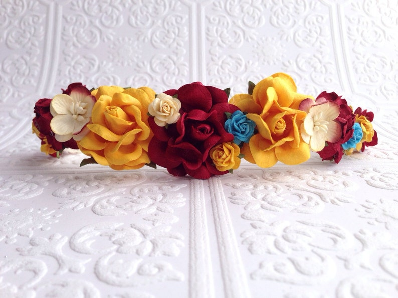 Yellow and Turquoise Roses Goddess Floral Crown The Burgundy