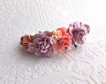 The Lavender and Peach Roses Goddess Floral Crown