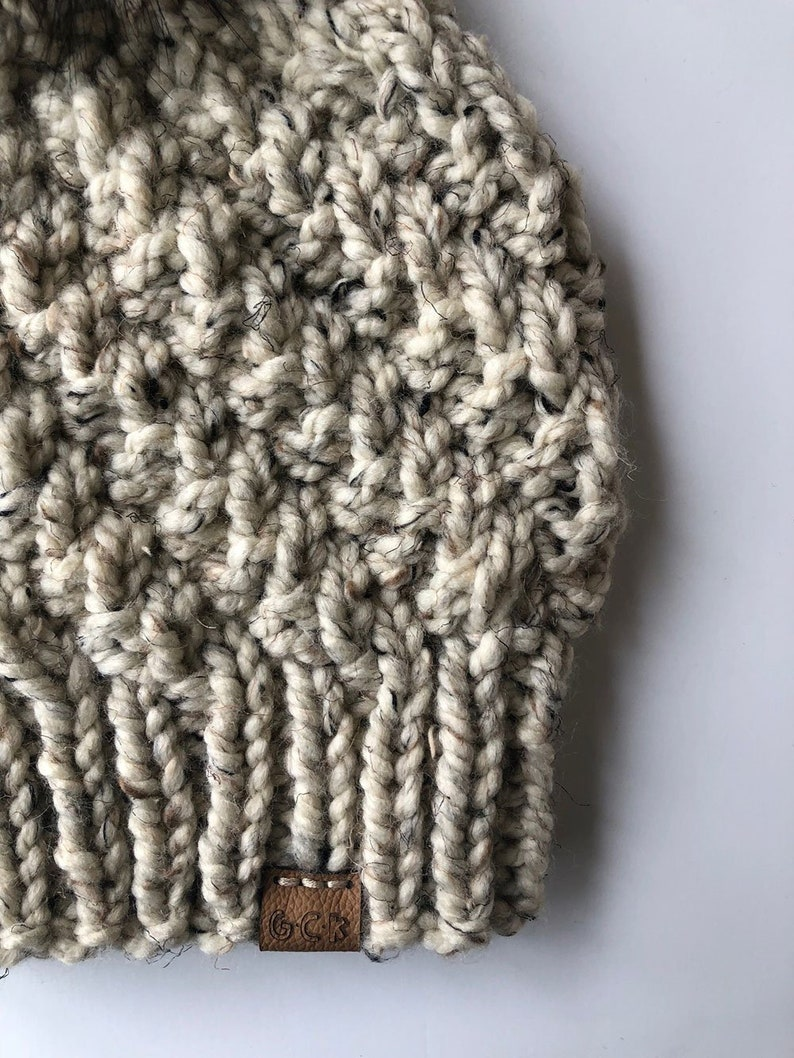 Cyclone Heather Beige Hand Knit Winter Hat Made to Order Slouchy