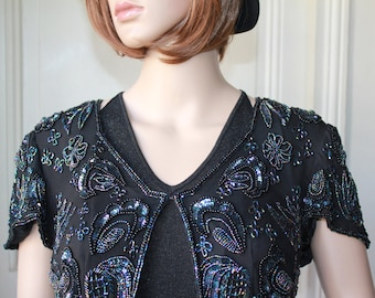 a0023d8021 Black bolero beaded embroidered flowers paisley vintage 60s 20s boheme chic  party outfit handmade beads sequin black iridescent - Size M