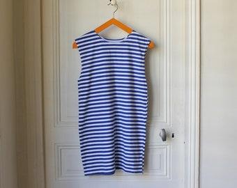 Sailor tank top 70 s vintage striped sleveless t-shirt cotton white and blue stripes french stripes klein blue summer basics - Size S