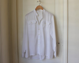 632fef42dc2 YSL man shirt white cotton 70 vintage Yves Saint Laurent collarless summer  boho shirt French Riviera vintage luxury fashion long sleeves - M