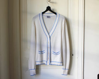5a8a88d07410cd 60s cardigan white and blue v neck vintage cardigan 60 s Prep Preppy Mods  fashion summer cardigan - Size M