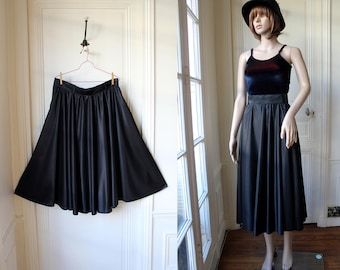 Black circle skirt high waist midi skirt chic and rock 80 s vintage skirt plain shinny black mid-lenght high waisted plus size skirt - XL
