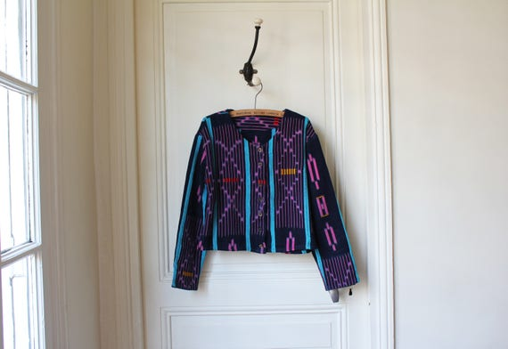 Bolero Jacke Mexican Vintage 90er Jahre Jacke Ernte ethnischen Grund Mexiko runden Hals kragenlose Jacke Mitte der Saison wurde Boho chic XXS XS