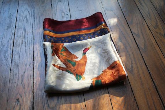 Big silk scarf mallard ducks 80s vintage scarf fly