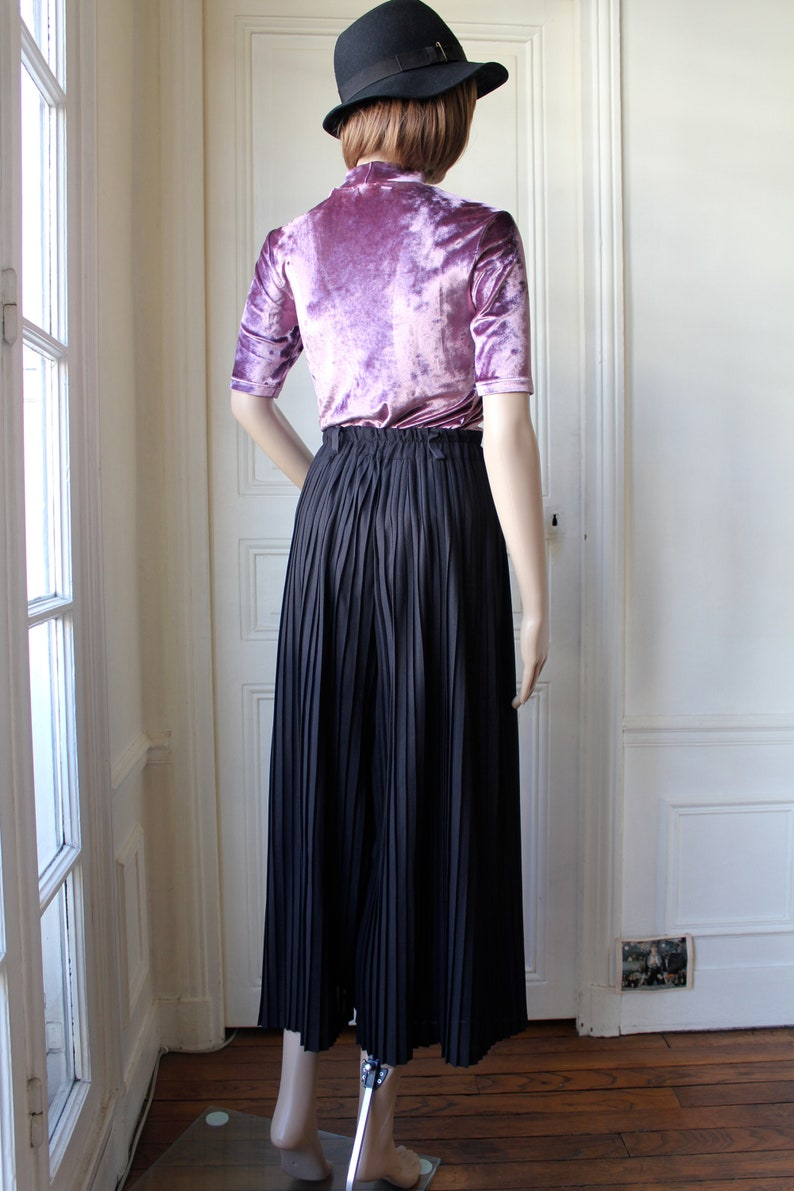 XS  S Wide leg pants pleated 70 s vintage pants trousers palazzo high waist black sheer pleats minimal chic french vintage