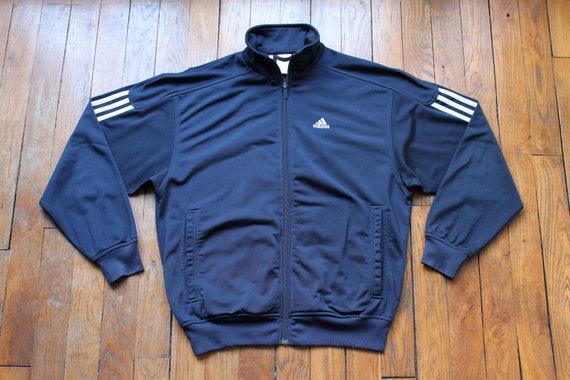 Adidas Jacke Blue Navy und weiße adidas Vintage Jacke Tracksuit Sportjacke Jahrgangsmarke 3 Streifen Größe S