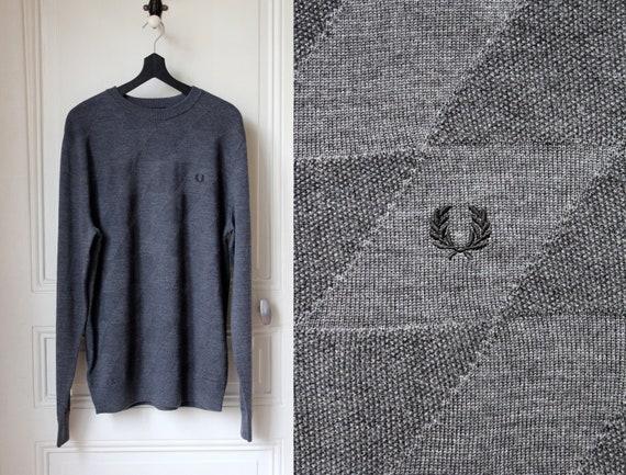 FRED PERRY sweater merino thin soft jumper dark grey round neck casual streetwear basics classics British style Size M