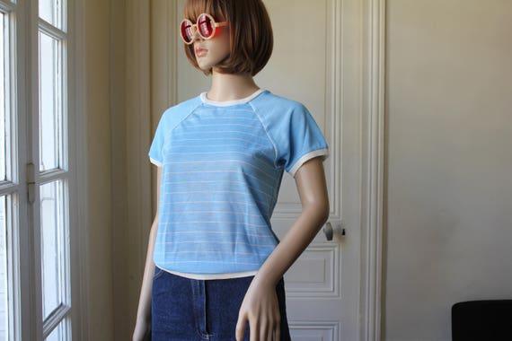 60s vintage t-shirt pale blue white stripes baby b