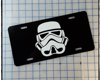 Star Wars Stormtrooper Mask Sides Thin Top Custom License Plate Frame