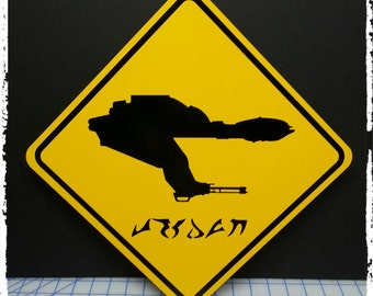 Klingon Bird of Prey Yellow Aluminum Sign