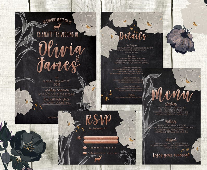 Wedding Invitation Chalkboard and Rose Gold Wedding Invitation Set Wedding Suite Printable Garden Wedding Rustic Wedding