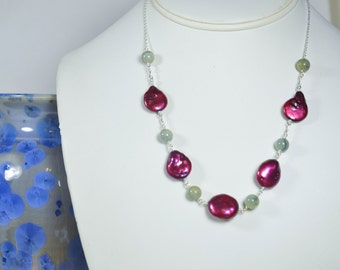 Statement Necklace with Cranberry Coin Pearls and Aquamarine Beads