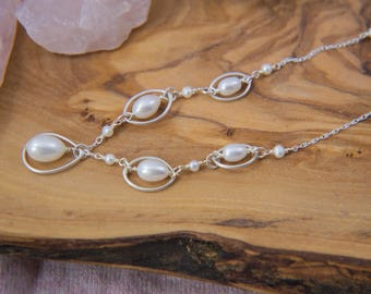 Encircled White Pearl Bridal Necklace in Sterling Silver, Adjustable
