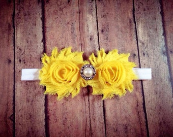 Yellow Shabby Flower Headband w/ Embellishment