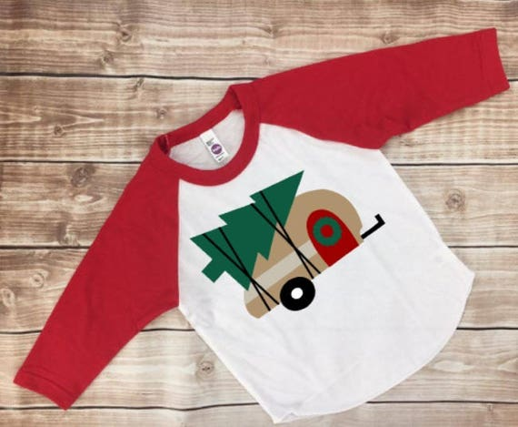 Arbre de Noël Camper T-Shirt T-Shirt Raglan enfant Raglan enfant chemise enfant en bas âge garçons filles Raglan Noël Raglan chemise Noël tenue Glamping