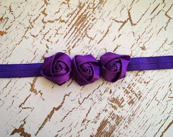 Purple Triple Rosette Baby Flower Headband, Headband, Newborn Headband